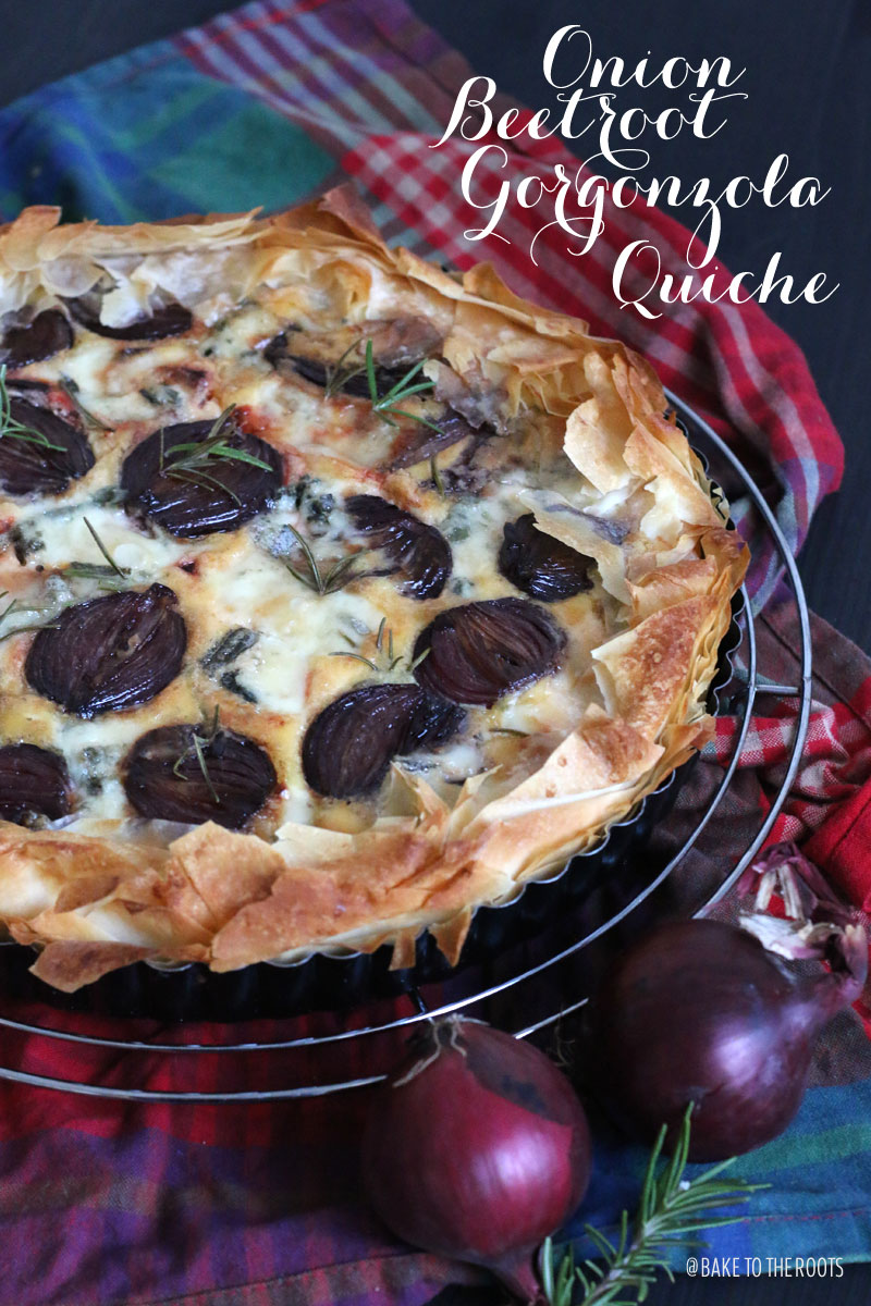 Onion Beetroot Gorgonzola Quiche | Bake to the roots
