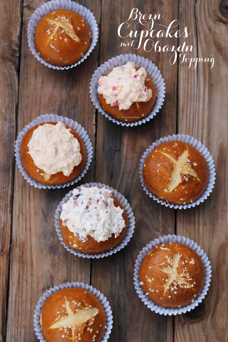 Brezn Cupcakes mit Obazdn Topping | Bake to the roots