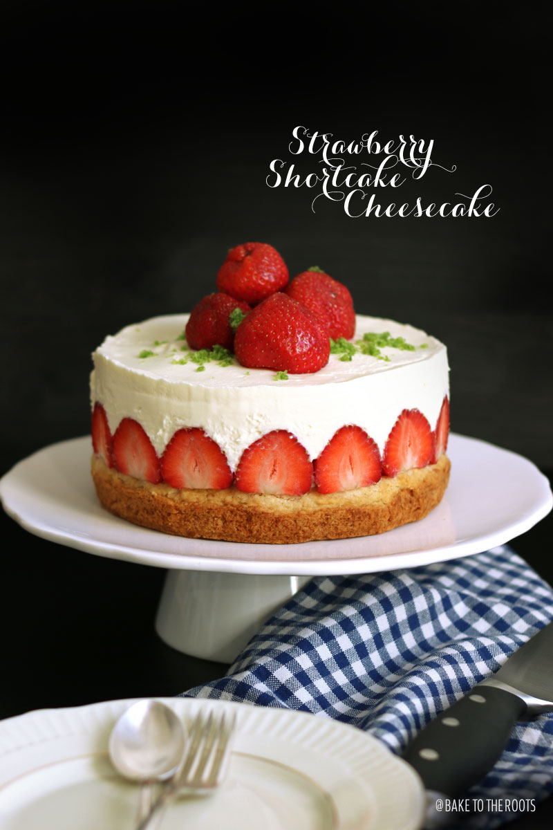 (Almost) No Bake Strawberry Shortcake Cheesecake | Bake To The Roots