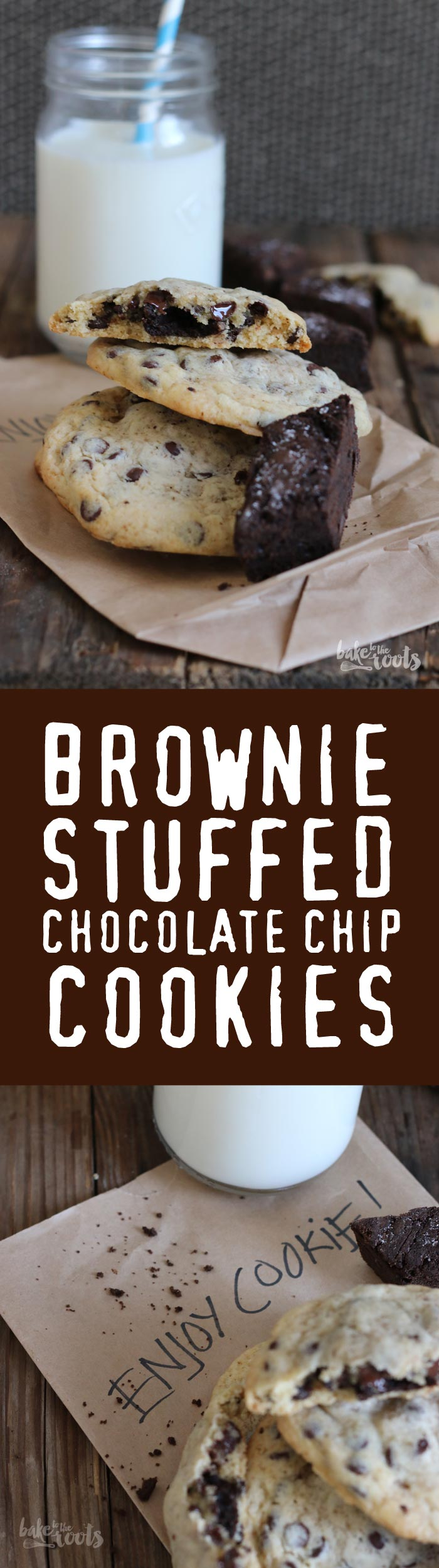 Cookie meets brownie - You can call them Brookies or Cookiebros - or plain Brownie Stuffed Chocolate Chip Cookies | Bake to the roots