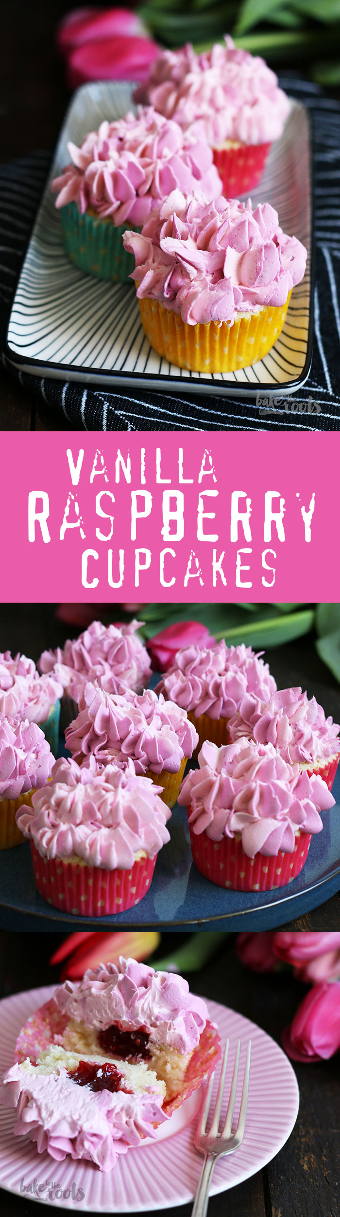 Delicious and Cute Vanilla Raspberry Cupcakes with a Swiss Meringue Buttercream | Bake to the roots