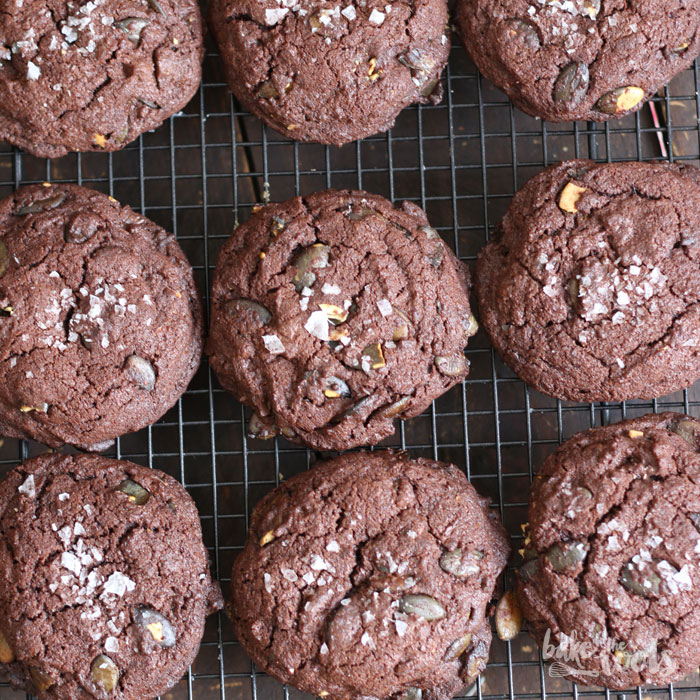 Double Chocolate Pumpkin Seed Cookies | Bake to the roots