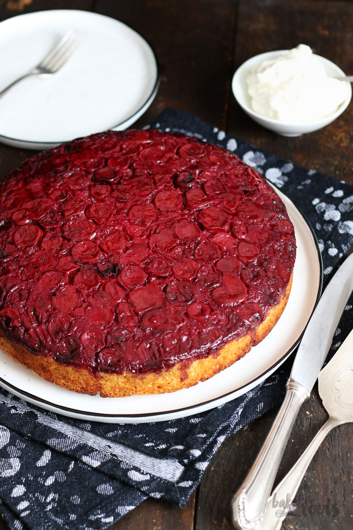 Cherry Upside Down Cake | Bake to the roots