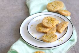 Pistacio Cardamom Shortbread Cookies | Bake to the roots