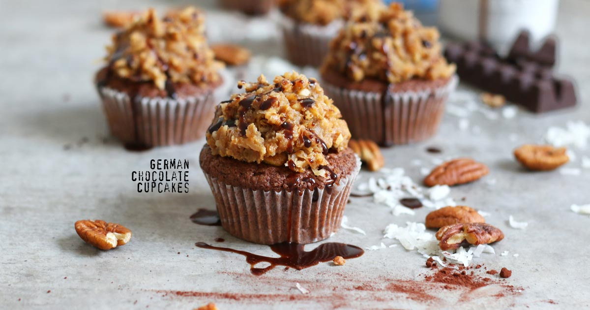 German Chocolate Coconut Cupcakes | Bake to the roots